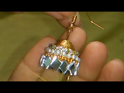 How to make paper quilling simple mirror jhumka