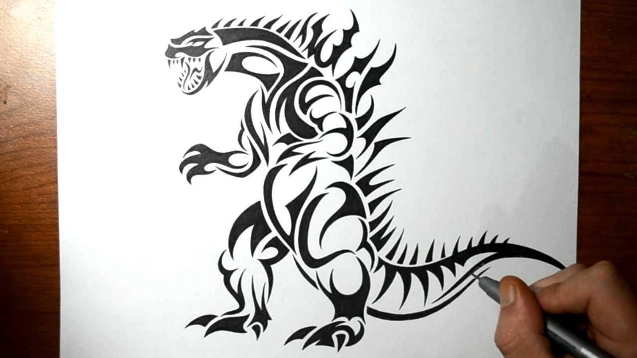 how to draw godzilla tribal tattoo design style youtube. Black Bedroom Furniture Sets. Home Design Ideas