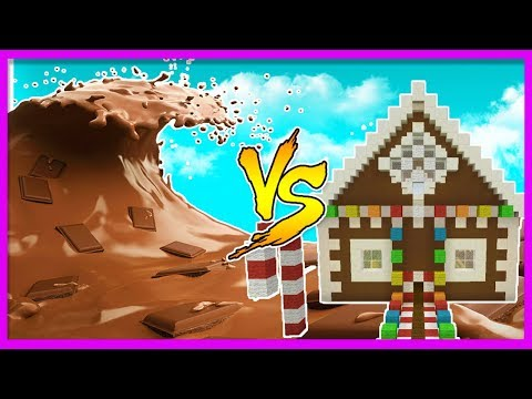 Minecraft - CHOCOLATE TSUNAMI VS CANDY HOUSE! (Tsunami Vs Base Challenge)