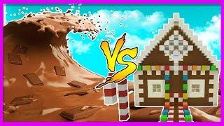 Minecraft - CHOCOLATE TSUNAMI VS CANDY HOUSE! (Tsunami Vs Base Challenge)