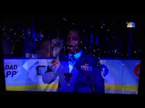 Air Force Tech. Sgt. Sonya Bryson sings the National Anthem at Game 1 of 2015 Stanley Cup finals.