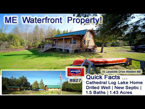 SOLD! Cool Off At Maine Lake Property   Log Home Waterfront Real Estate Video MOOERS REALTY #8927