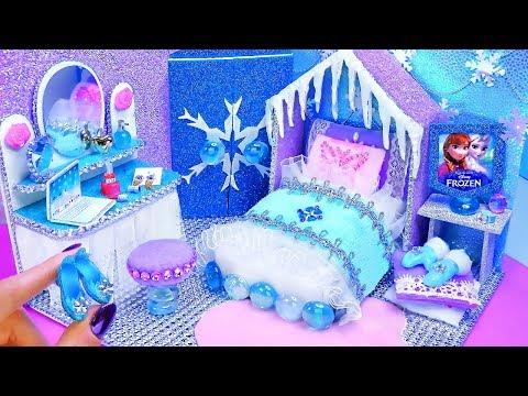 DIY Miniature Frozen Bedroom and Shoes for Disney Elsa
