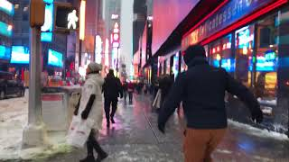 50th Street View Of Times Square After Bomb Cyclone Snow Storm