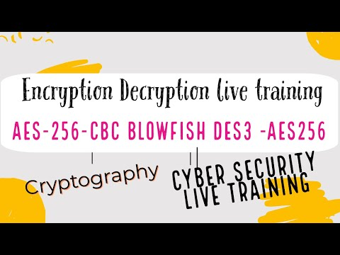 Encryption Decryption  Using Aes256 Blowfish Des3 Aes 256 Cbc Algorithm Live Training