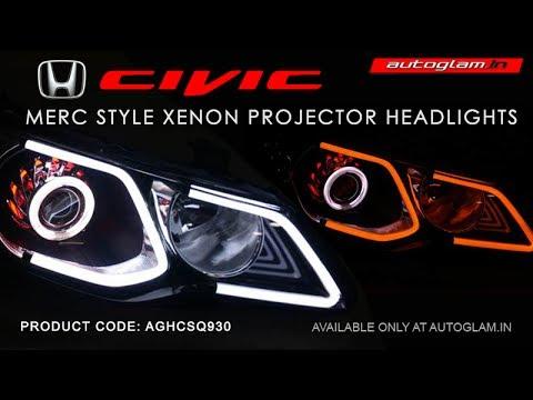 AGHC930M, Honda Civic 2006-2013 Merc Style DRL XENON HID  Projector Headlights with 55Watt HID