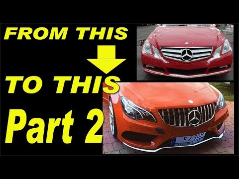 Mercedes E-class W207 facelift project, AMG bumper,Headlights,carbon fiber install part 2