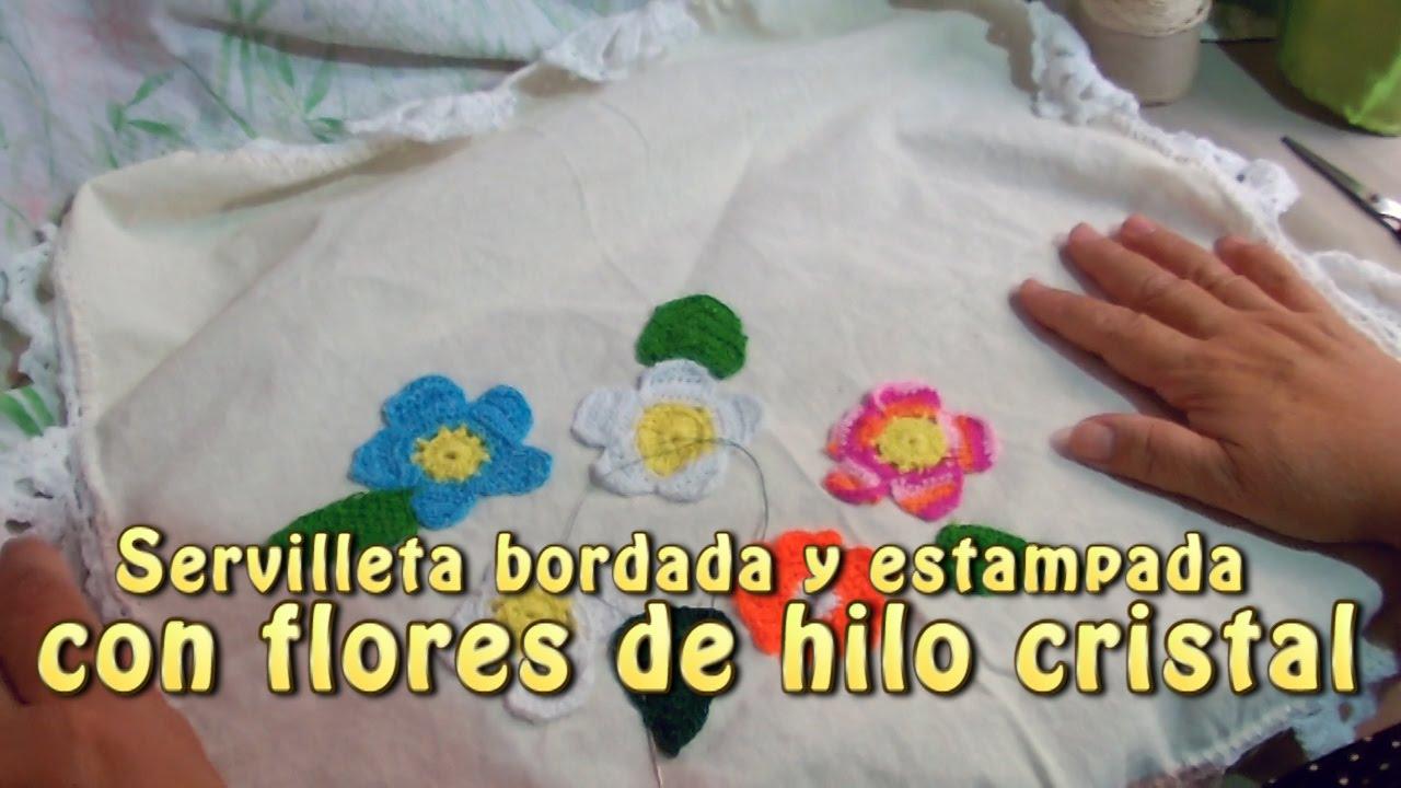 Servilleta bordada y estampada con flores de hilo cristal - Manualidades con hilo ...