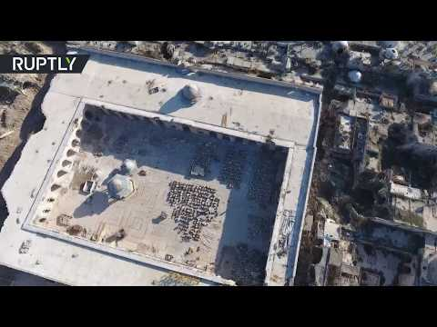 Drone footage captures Chechnya-funded restoration work at Aleppo