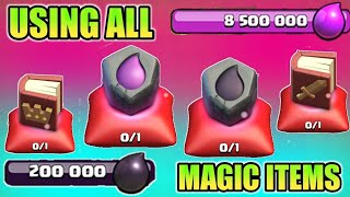 USING ALL ITEMS - RUNE OF DARK , RUNE OF ELIXIR , BOOK OF HEROES & MORE IN CLASH OF CLANS 2018