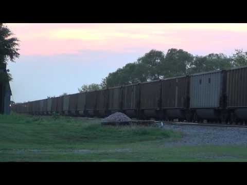 Two at once! Westbound Union Pacific coal trains at Dakota Avenue crossing
