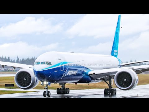 Boeing 777X Taxiing To The Runway.