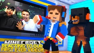 REACTING TO OUR FIRST VIDEO EVER w/ DONUT THE DOG, I BET YOU LAUGH!! Little Donny Minecraft.