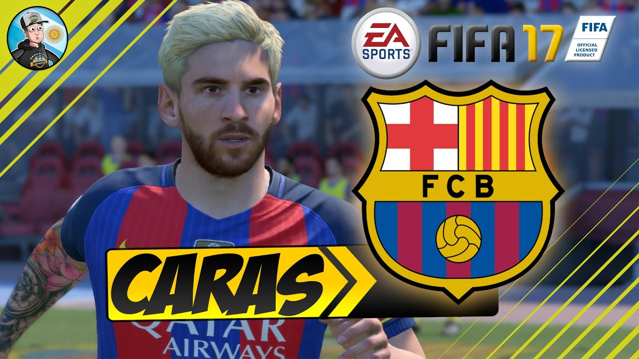 fifa 17 fc barcelona player faces caras youtube. Black Bedroom Furniture Sets. Home Design Ideas