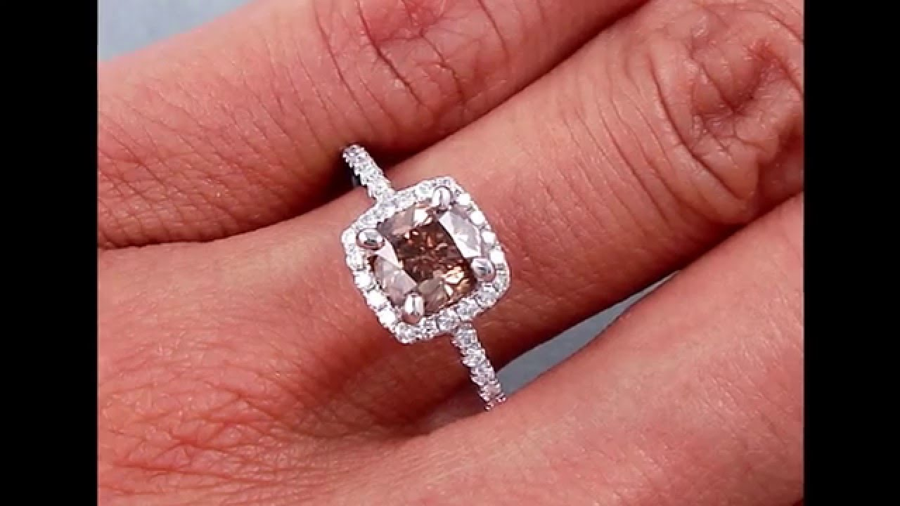 1.29 ctw Cushion Cut Chocolate Diamond Engagement Ring ...