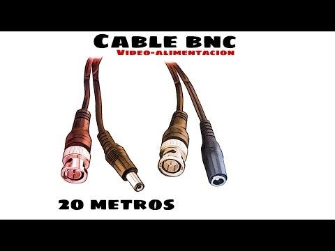 Video de Cable RG59 Combinado Coaxial y Alimentacion BNC 20 M Negro