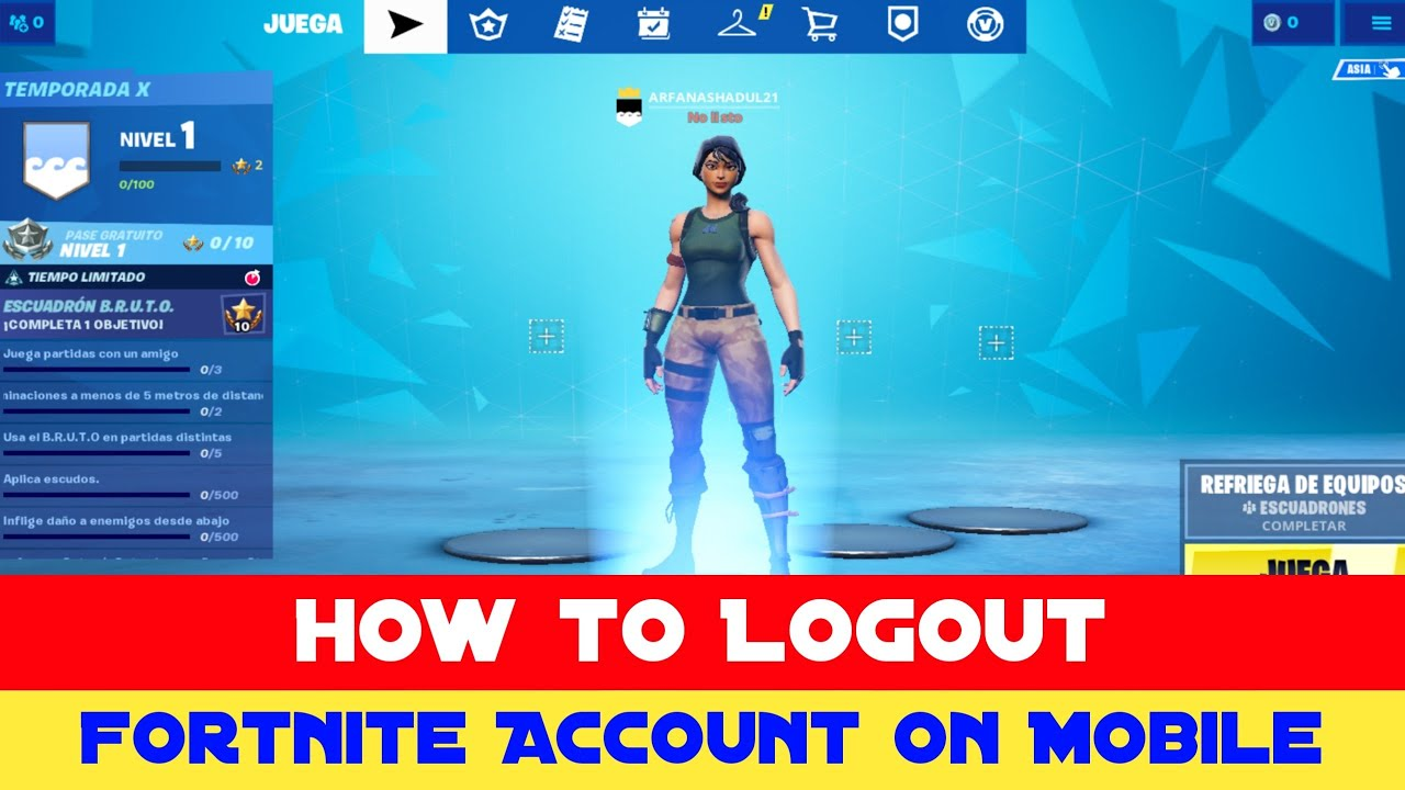 How To Logout Fortnite Account On Android Ios 2020 Signout Epic Account Youtube
