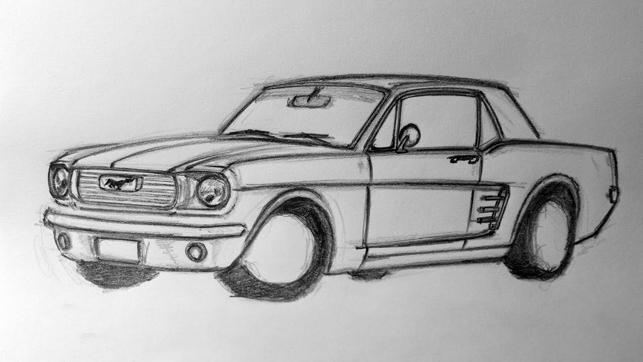 1966 Ford Mustang Sketch - YouTube