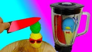 Смузи в Блендере из Сквиши / Раскаленный Нож в 1000 Градусов VS  Сквиши Антистресс Squishy Toys