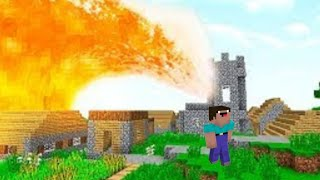 Noob tenta fugir de um tsunami de lava no Minecraft. [ Lava run ]