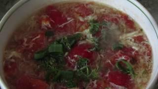 Китайская кухня: Китайский суп с помидорами и яйцом