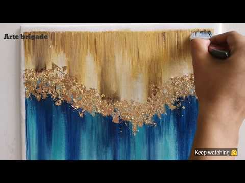 gold-leaf-glitter-effects-on-double-color-background⚡.-gold-foil-art|easy-acrylic-painting-ideas
