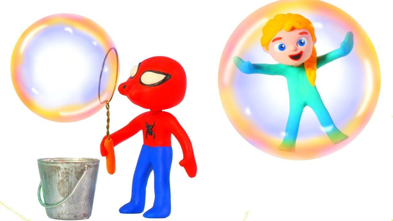 SUPERHERO BABIES PLAYING WITH BUBBLES ❤ SUPERHERO BABIES PLAY DOH CARTOONS FOR KIDS