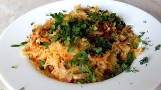 Жареная капуста с грибами шампиньонами постный рецепт