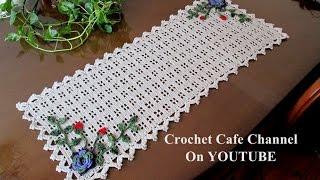 كروشيه مفرش مستطيل سهل للمبتدئين | قناة كروشيه كافيه Crochet Cafe Channel