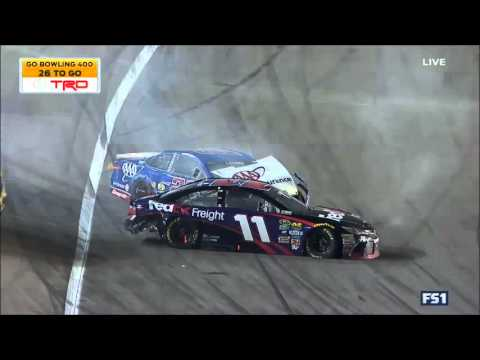 Hamlin Logano Crash Hard - NASCAR 2016 Kansas Go Bowling 400