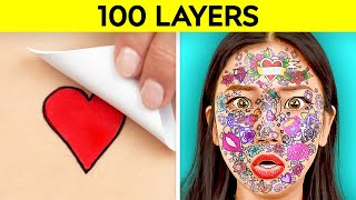 Download lagu 100 LAYERS CHALLENGE! Best 100+ Coats of Makeup, Hairspray, Duct Tape, Tattoos by 123 GO! CHALLENGE
