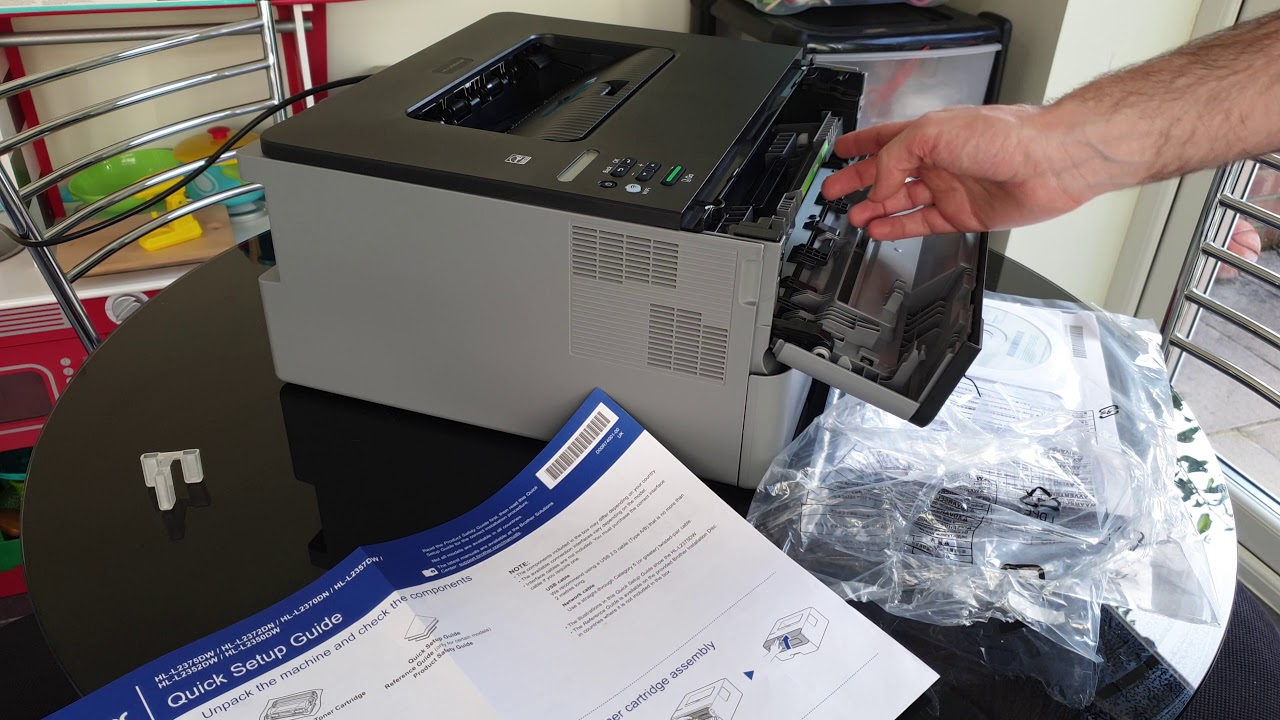 4k Installing The Toner Cartridge And Drum In The Brother Hl L2350dw Wireless Laser Printer Youtube