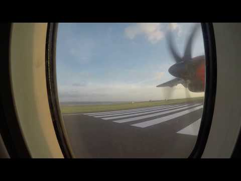 Take off from Ngurah Rai Bali to Lombok Praya with Wings Air ATR 72-600 reg number PK-WGG
