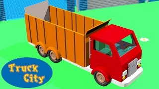 Dump truck: construction of swimming pool and giant slide | Truck City E03 | Construction games [3D]