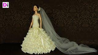 Свадебное платье  без выкроек для куклы Барби