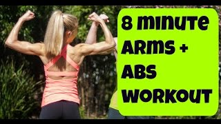 8 Minute Arms, Abs and Back Workout. Bodyweight Routine