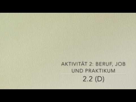 Arbeitsblatt 1 - Aktivität 2: BERUF, JOB UND PRAKTIKUM - YouTube