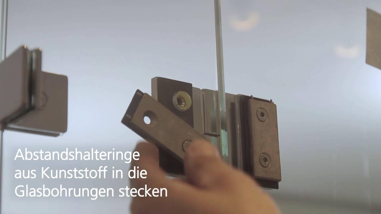 Montage Einer Glas Dusche In U Form Mit Edelstahl Beschlagen Youtube