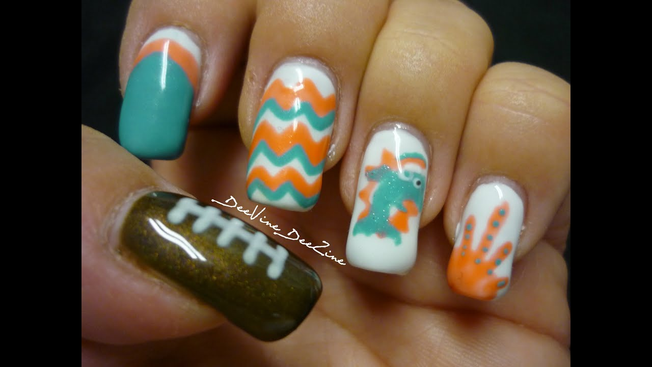 Miami Dolphins Nail Art (with Sensationail) - YouTube