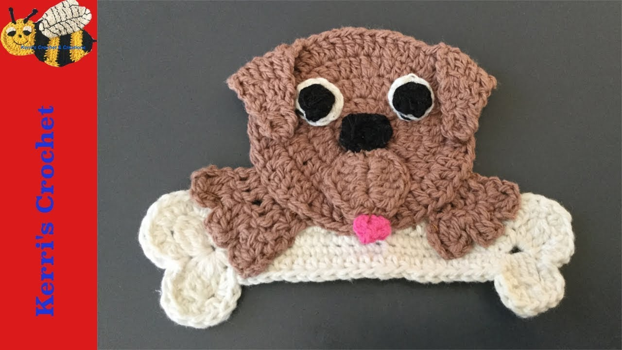 Crochet appliqué tutorial how to make a crochet dog with a bone