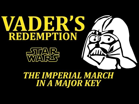 The Imperial March from Star Wars played in major key sounds happy as hell