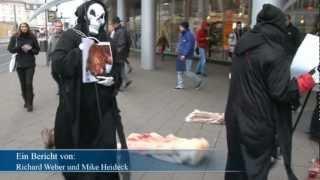 Peta-Tierschützer protestierten in Kassel gegen Nerzfarmen - Blutige Pelze