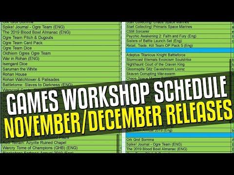 Games Workshop November/December Schedule Leak