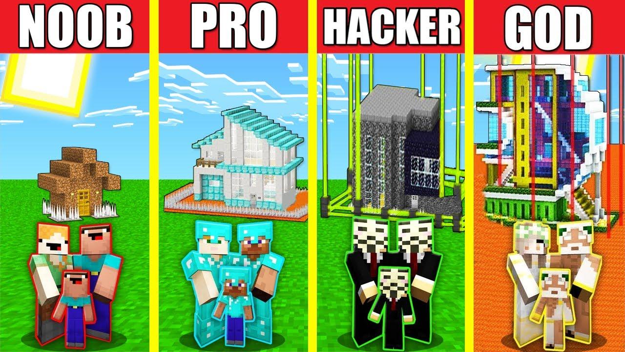 Minecraft Battle: SECURE SAFEST HOUSE BASE BUILD CHALLENGE - NOOB vs PRO vs HACKER vs GOD Animation