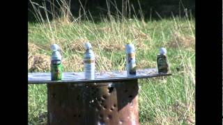 I SHOT THE Golf ball can cigarette lighter sauce With Ruger 22 rifle target practice