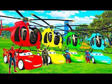 Thumbnail: COLOR MCQUEEN Helicopter on BUS and Spiderman Cars Cartoon for babies with Superheroes for kids!