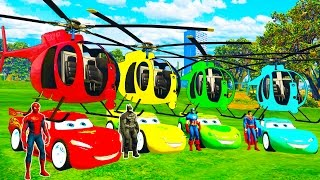 COLOR MCQUEEN Helicopter on BUS and Spiderman Cars Cartoon for babies with Superheroes for kids! thumbnail