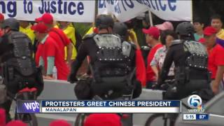 Supporters, protesters gather ahead of Chinese president's visit