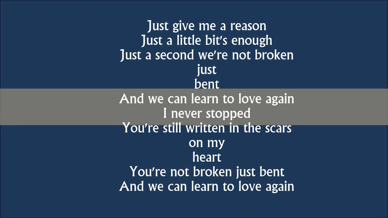 Just give me a reason - pink lyrics - YouTube