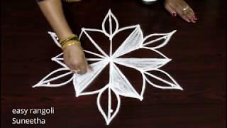 Very simple  rangoli kolam art designs by Suneetha    easy n cute muggulu